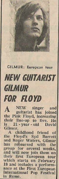 New guitarist Gilmour for Pink Floyd 1968 .                                                                                                                                                                                 More