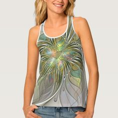 Floral Fantasy, Abstract Fractal Art Tank Top