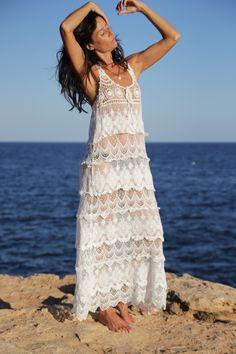 Vestido largo crochet Free Love – Ibiza Trendy | Tienda online | Online store