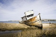The Point Reyes fine art photography prints for sale by Priya Ghose - The Point Reyes is an abandoned fishing boat in Inverness, Marin County, CA, (in Tomales Bay, north of San Francisco). It is located near Point Reyes National Seashore, and is a popular photographic subject. I was curious to learn about the history behind this boat, but have uncovered surprisingly little information about it thus far.