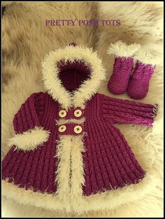 pdf pattern ( not the finished items) little Eskimo fur trimmed coat and boots. worked in a mock cable pattern and twisted rib pattern sizes 0-3