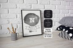 Personalized fabric art print with baby name, monogram, arrow, cloud and baloon illustration. Original present for a Baby shower, a Christening, a Kids Birthday or Nursery Decor. Hand printed by My Home & Yours. Black and white boys room decor. Boys Room Decor, Nursery Decor, White Boys, Baby Decor, Fabric Art, Kids Rooms, Baby Names, Christening, Room Inspiration