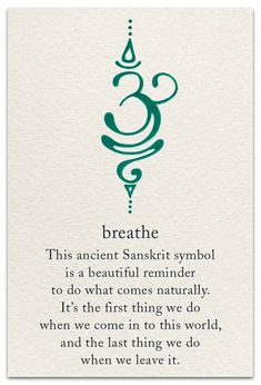 The Breathe Sanskrit symbol is calming yet motivating, just like active breathing! Take short breaks to breathe deeply throughout your day - especially if you're stressed - and you'll probably notice that you feel less exhausted by the end of it Neue Tattoos, Body Art Tattoos, Tatoos, Yoga Tattoos, Arabic Tattoos, Mini Tattoos, Saying Tattoos, Irish Tattoos, Buddha Tattoos