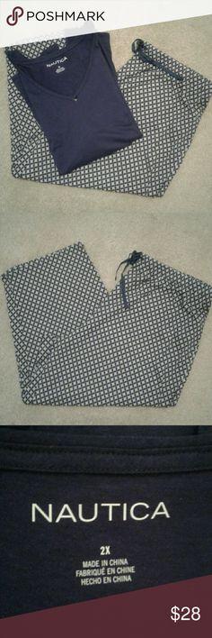 "Nautica Pajama Set NWT Naitica pajama set. Size 2X - 60% Cotton 40% Rayon.                                                     20"" Waist and elastic 37"" length pants.                                   27.5"" Arm Pit and 28"" length top.                                              Colors: Top is purple with short sleeves and Bottom is purple and yellow.                       NWT Nautica Intimates & Sleepwear Pajamas"