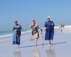 Sarasota Amish walk the Siesta Beach