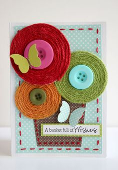Such a happy card - love those twine embellishments.