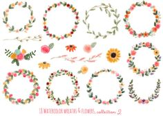 Check out 18 Watercolor Wreaths & Flowers, by michLg studios on Creative Market (Graphics, Illustrations) Wreath Watercolor, Watercolor And Ink, Watercolor Flowers, Watercolor Paintings, Watercolor Christmas, Creative Market, Logo Floral, Laurel Wreath, Creative Sketches