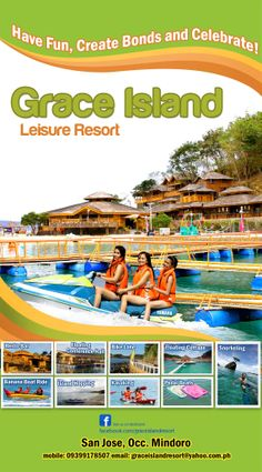 FUN GETAWAY PACKAGE (Php 2,200/person, minimum of 4 persons)  INCLUSIONS: *Roundtrip boat transfer (departs Aroma beach 9:00am & leaves Grace Island 7:00am) *Entrance Fees *Welcome drink upon arrival *Overnight room accommodation in a Family  FLOATING COTTAGE *Fullboard meals (lunch, dinner breakfast) *Use of KAYAK, SMALL BOAT, BIKES  *Use of BALLGAMES and BEACH GAMES **JET SKI (Php 1,500 for 30 minutes)  Book now! CALL/TEXT (02)9558407/(0918)2711392 Mindoro, Beach Games, Banana Boat, Heavenly Places, Welcome Drink, Urban Life, Island Resort, Small Boats, Jet Ski