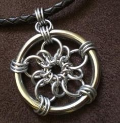 plum flower pendant - 16swg and 18swg + large ring
