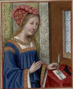 Hermione, holding her pen knife -- Huntington Library Ms HM 60, f°42.  Written in France at the turn of the fifteenth century.
