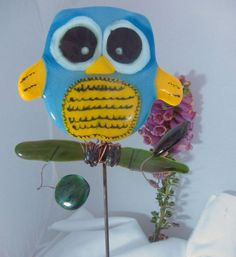 Fused Glass Owl Garden Stake,heu0027s On A Branch With Leaves  They All Have  Their Own Personality   Gardens, Fused Glass And Owl
