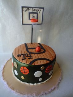 B Ball! This is a cake I did for a girl who loves basketball and was turning 13, her jersey number was 14 and these are her teams colors....