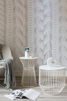 white knit wall mural