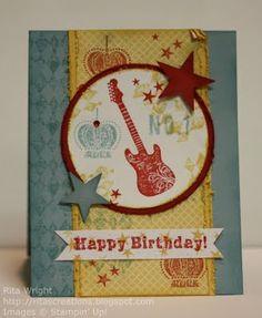 handmad card, rock birthday, idea, grunge, happy birthdays, bday card, cardsbirthday card, grung rock, male card