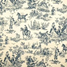 0578904 Cavalier Toile Blue On Cream by Vervain Fabric Charles Faudree Cotton USA see fabric sample Horizontal: 27 inches and Vertical: 36 inches 54 inch min (See samples) - Fabric Carolina - French Country Bedrooms, French Country Style, French Country Decorating, Equestrian Bedroom, Equestrian Decor, Toile Wallpaper, Dog Wallpaper, Hunting Wallpaper, Chinoiserie