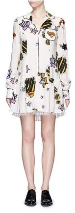 GIAMBA Stripe star embroidery crepe pyjama shirt dress - $2,125.00