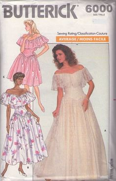 MOMSPatterns Vintage Sewing Patterns - Butterick 6000 Vintage 80's Sewing Pattern BREATH TAKING New Wave Garden Cocktail Party Dress, Off the Shoulder Lace Southern Belle Wedding Gown Size 6-10