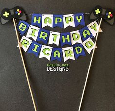 Game Controller Cake Bunting Topper Personalized -Gamer Birthday Party Baby Shower - Video Game Decorations by ArtisticAnyaDesigns on Etsy https://www.etsy.com/listing/548932443/game-controller-cake-bunting-topper