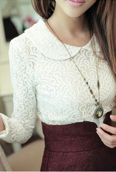 Cute outfit. lace collar top with maroon skirt and vintage necklace.