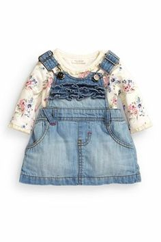 Buy Authentic Denim Frill Pinny And Floral Bodysuit Two Piece Set (0-18mths) from the Next UK online shop