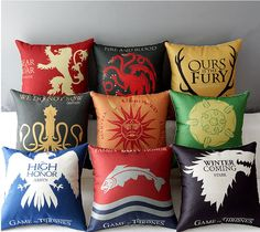 Get this Game of Thrones Decorative Pillow Case and let the world know you're a GoT fan! Finished Item, Invisible/Hidden Zipper Closure in one side, Reverse is the solid natural color. Included cushio