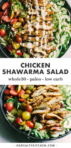 Looking to shake up your paleo dinner routine? Try this lebanese chicken shawarma salad. Mixed greens, fresh herbs, cucumber, tomato, and red onion are topped with slices of crispy oven baked chicken thighs. The marinade is fast, easy, and best of all, 100% make ahead. This is a tried-and-true whole30 recipe you'll turn to again and again! #whole30 #lowcarb