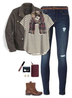 """Stripes & plaid"" by steffiestaffie ❤ liked on Polyvore featuring Hudson, H&M, J.Crew, Sole Society, NARS Cosmetics, Kendra Scott and Tory Burch"
