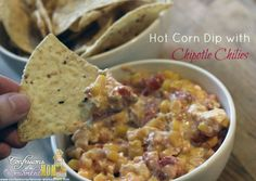 Hot corn dip with Chipotle Chilies #SB47 Super Bowl Party Recipes. More recipes:  http://www.confessionsofanover-workedmom.com/category/recipe