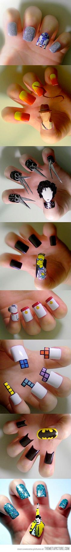 These nails are so cool and unique especially the designs on the nail and some nails actually take the shape of the design! Awesome nail art!