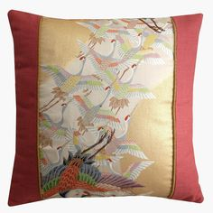Japanese silk obi cushion cover with a beautiful cranes design♥ Cushion Covers, Pillow Covers, Crane Design, Cushion Ideas, Modern Asian, Handmade Cushions, French Seam, Asian Decor, Beige Background