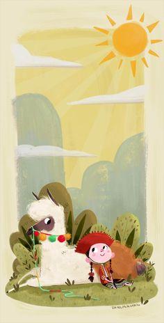 Girl and Llama illustration design