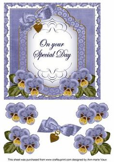 DBlue Pansy Special Day Fancy 7in Decoupage Topper on Craftsuprint - Add To Basket!
