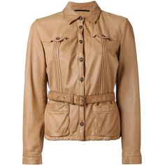 Prada Vintage belted leather jacket ($275) ❤ liked on Polyvore featuring outerwear, jackets, brown, vintage jackets, stitch jacket, beige leather jacket, beige jacket and real leather jackets