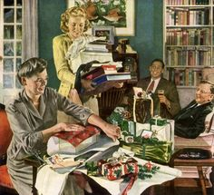 Wrapping Christmas Gifts ~ ca. 1940s