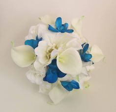 Blue Calla Lilies Bridal Bouquet | Blue Orchid & White Calla Lily Bouquet...  my baby girls flowers
