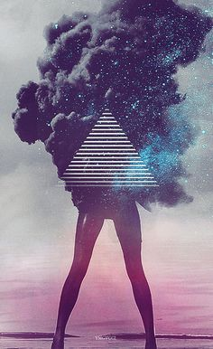 We LOVE this picture. Possibly change the triangle to a gretch with clouds of smoke and stars coming around it. Also like the background behind it.