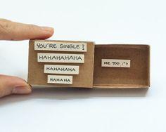 "Awkward Dating Card/ Cute Proposal Card/ Single Dating Valentine Matchbox / Love Card / Gift box/ ""You're Single?"""