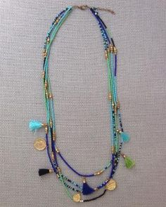 Spice your outfit up with this boho bohemian inspired turquoise, blue, and green seed bead charm tassel statement necklace. Necklace Measurements: - Spice your outfit up with this boho bohemian. Tassel Jewelry, Bohemian Jewelry, Beaded Jewelry, Handmade Jewelry, Jewelry Necklaces, Bohemian Necklace, Jewelry Shop, Bracelets, Seed Bead Necklace
