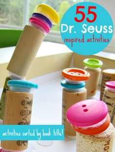 55 great Dr.Seuss crafts and activities for kids. There are activities for 19 different Dr.Seuss books.