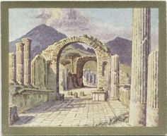 Pompeii. View towards Vesuvius. From New York Public Library Digital Collections.