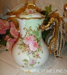 Stunning Limoges Chocolate Pot with Pink Roses