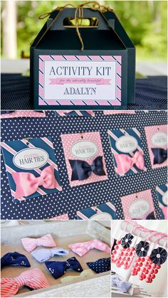 Great way to incorporate both the boys and girls allowing them to decorate a hair bow/ bow tie. Bow Tie Party, Little Man Party, Fru Fru, Ballerina Party, Nautical Party, 3rd Birthday Parties, Birthday Ideas, Pink Parties, Party Entertainment