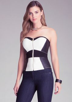 Colorblock Bustier - Tops - Night Out | bebe