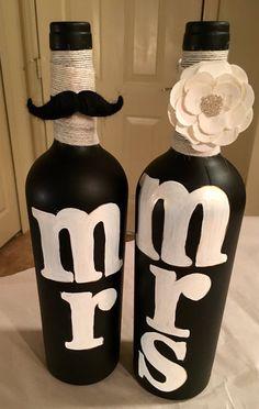 MR and MRS Wine Bottles by BottlesByMeesh on Etsy
