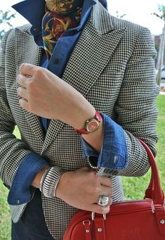 Patterned blazer, chambray, with navy pants and printed scarf -- my own take on this outfit