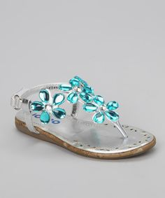 49797ab06847f9 Josmo Silver   Turquoise Jewel Flower Sandal. Flower Girl ShoesGirls ...