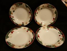 Set of 4 Tienshan Magnolia China Bowls 8 1/8 inches