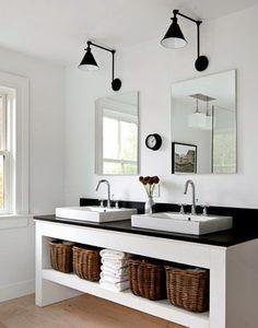 Looking for bathroom storage ideas? Bathroom storage is key to a successful bathroom makeover. Take a look at these bathroom storage hacks Bathroom Renos, White Bathroom, Master Bathroom, Simple Bathroom, Double Sink Bathroom, Bathroom Furniture, Bathroom Storage, Remodel Bathroom, Bathroom Vanities