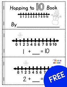FREEBIE Hopping to 10 - January Math and Literacy centers for kindergarten an. Kindergarten Centers, Preschool Math, Kindergarten Classroom, Teaching Math, Math Centers, Kindergarten Vocabulary, 1st Grade Math, First Grade, Grade 1