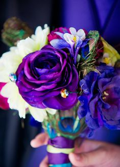 A Jade Flower Bouquet Original: purple, teal, lime, peacock feather, lisianthus, columbine, ranunculus